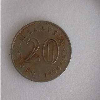 Malaysia Old Coin 20 cent 1968