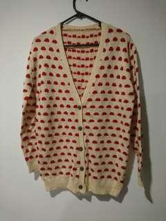 Chunky polka dots knit cardigans