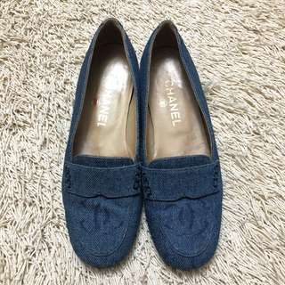 CHANEL Denim Loafer Flats