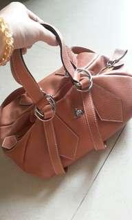 Vivienne westwood london genuine leather Handbag light brown