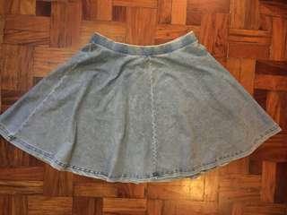 Topshop Light Denim Skater Skirt