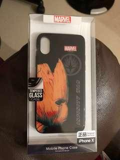全新iphone x 無限之戰 樹人玻璃面電話殻