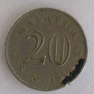 Malaysia Old Coin 20 cent 1979 ( 3 pieces )