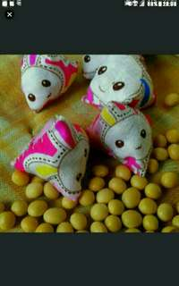 bunnies Rabbits with pink base Five stones  As featured in Northeast zone Vibes magazine, Zaobao newspapers