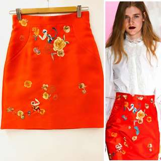 Shiatzy Chen orange red with emborderies skirt size F38