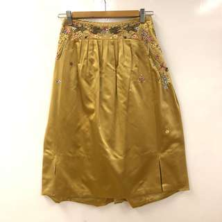 Shiatzy Chen gold silk with emborderies skirt size F38