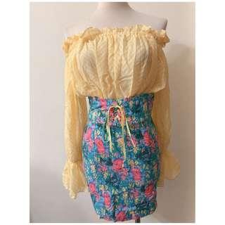 ❀☪︎ 韓  女人味滿滿 一字領碎花馬甲洋裝
