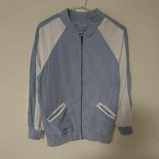 全新未拆標 撞色拼接薄款防曬棒球外套 夾克(淺藍)