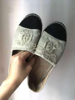 Chanel style 草鞋 漁夫鞋 布鞋 米色