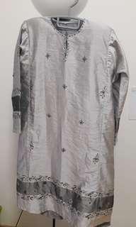 Baju Kurung Light grey with beads