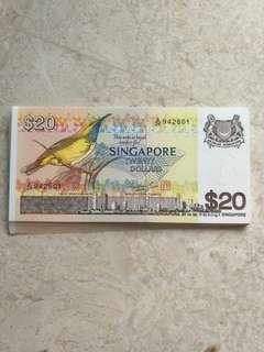 30 PCS SINGAPORE $20 BIRD A/24 942801-30 RUN UNC