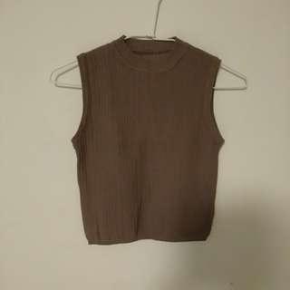 小立領坑條短版無袖針織背心