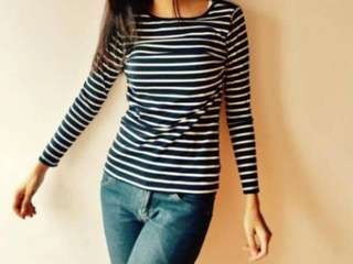 Black and White Long Sleeve Striped Shirt