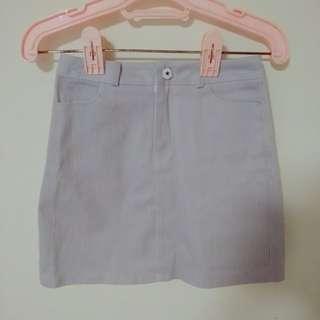 高腰單釦藍白直紋條紋顯瘦短裙 a字裙