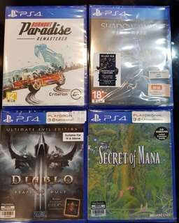PS4 Games from $39! ( Shadow of war / Secret of Mana /Diablo 3 Reaper of Souls /Burnout Paradise)
