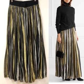 百摺長裙 Alice and Olivia gold and silver metallic max skirt size 0