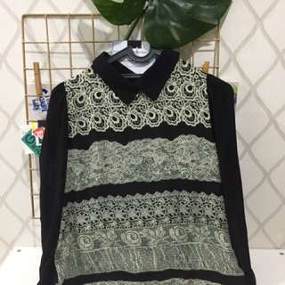 Pattern Top Long Shirt With Collar