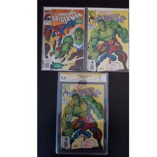 "Amazing Spider-Man #381,#382,#382 CGC 9.8 SS (1993, 1st Series) Set of 3, Guest-Starring The HULK! CGC 9.8 Signed by ""Magic"" Mark Bagley! ""One To Read,One To Keep"" Series."