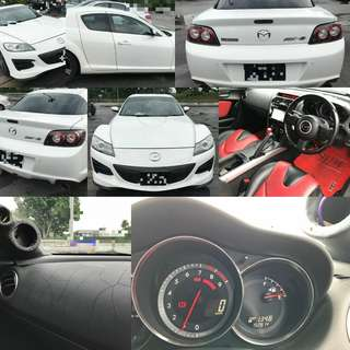 New facelift  Mazda RX8 1.3 auto. White colour Keyless start. Dashboard crack. No speaker  RM7,800