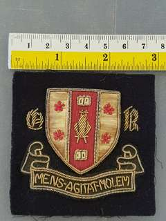 Vintage British Rossall School  embroidery cloth Badge