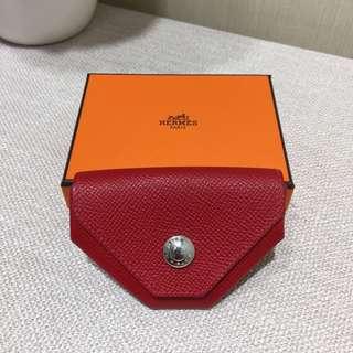 Hermes新款正品红色牛皮多邊形散$包99新