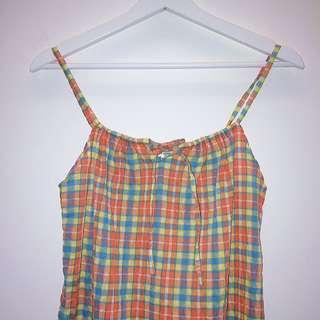 售出___Fibre   橘綠格  細肩帶  野餐裙  日本古着