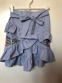 Blue Ruffled Embroidered skirt