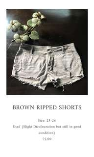 Brown Ripped Shorts