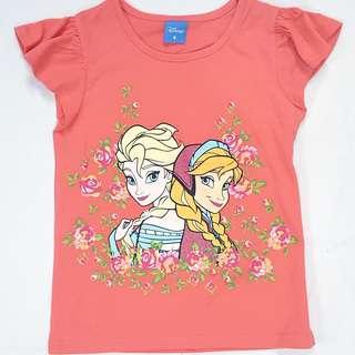 Disney Frozen 冰雪奇緣 Anna Elsa 100% COTTON 純棉 Tee, 4個碼: 4-5-6-6X (3-8歲), 可姊妹裝👭, $28一件