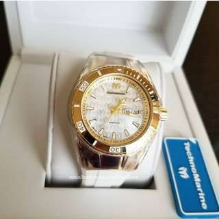 Technomarine Monogram Mother of Pearl Dial Gold Case White Rubber strap 40mm