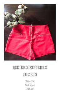 BSK Red Zippered Shorts