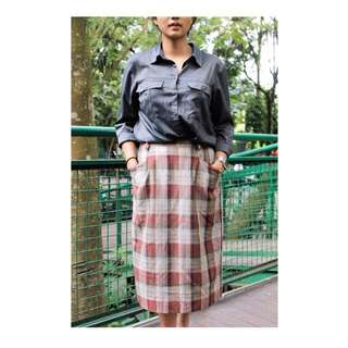 Midi Skirt with Square Pattern