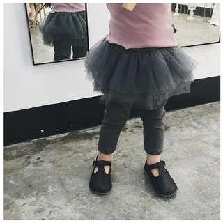 女嬰兒蓬蓬紗裙假二件式純棉內搭褲褲裙