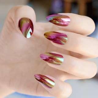 Holographic Rainbow Stiletto Fake Nails Mirror Chrome Gold Rose Color False Nail Full Cover Magic Effect Acrylic Nails Tips