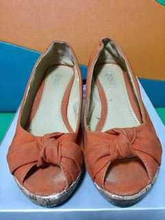 Orange Peep Toe Wedge