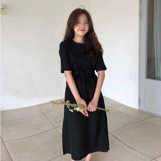 🚚 黑色收腰五分袖氣質洋裝