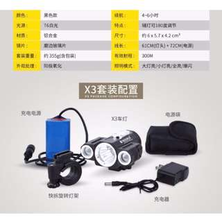 Brand New Front beam light Lumen LED Bicycle Light Set with Power Bank Battery Pack Included