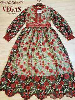 Luxury Branded Casual Maxi lace Princess Floral rose Dress