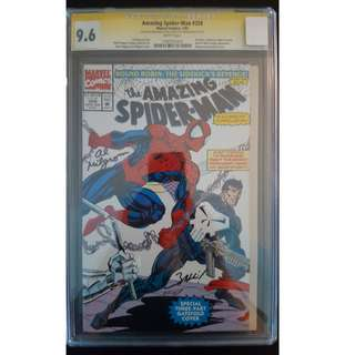 "Amazing Spider-Man #358 CGC 9.6 SS (1992, 1st Series) Guest-Starring The PUNISHER! CGC 9.6 Dual Signature Autographs, Signed by ""Magic"" Mark Bagley & ""Awesome"" Al Milgrom!"