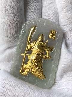 天然緬甸翡翠好美金關公,彿,觀音玉牌每個480元