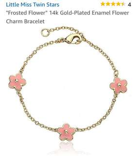 Little Miss Twin Stars Flower Charm Bracelet