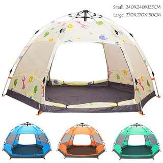 自動帳篷 pop up tent 4色 2個碼 戶外用品 3-8人 雙層六角形 沙灘露營野餐 防雨 防蚊網 large family camping CA032