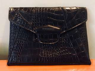 Authentic Givenchy Antigona Envelope Clutch in Croc Leather