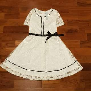 Dress renda ivory (remaja/dewasa)