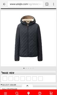 Uniqlo Black Padded Quilted Hooded Jacket