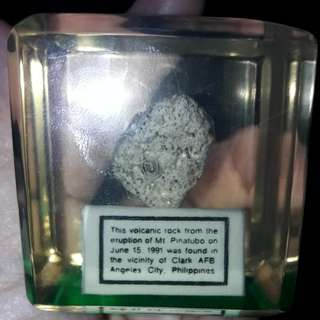 Mt pinatubo rock placed in a glass