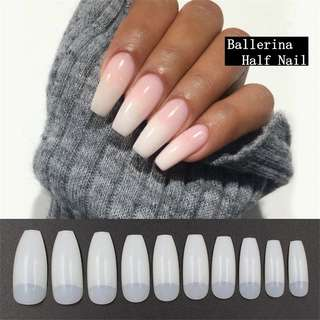 New 20pcs Ballerina Nail Tips Full Coffin Shape French Fake Nail Professional Nail Art Tip Square Style Nature False Nails Tool
