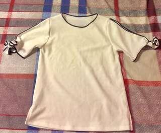 White cold shoulder blouse