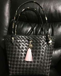 Modern Bayong Bag (Black and Baby Pink)