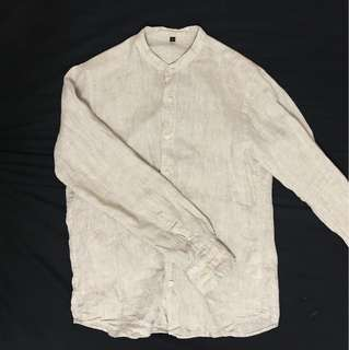 🚚 二手Muji無印良品男法國水洗亞麻立領襯衫 米白色M號
